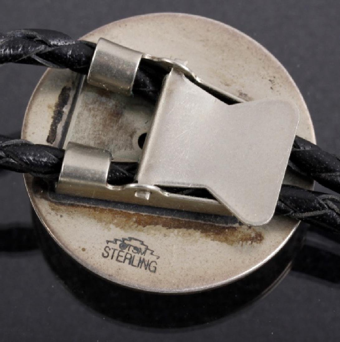 Signed Navajo Sterling Silver Engraved Bolo Tie - 4