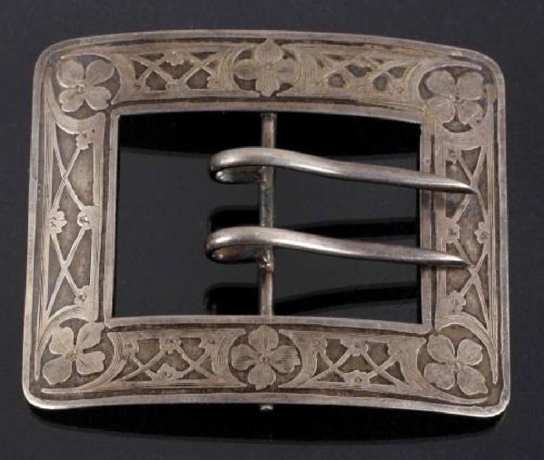 Two signed & Engraved Sterling Silver Belt Buckles - 5