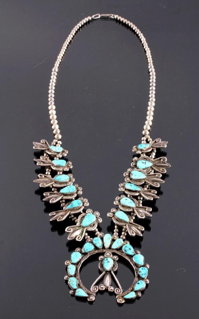 Navajo Sterling & Turquoise Squash Blossom 1900-