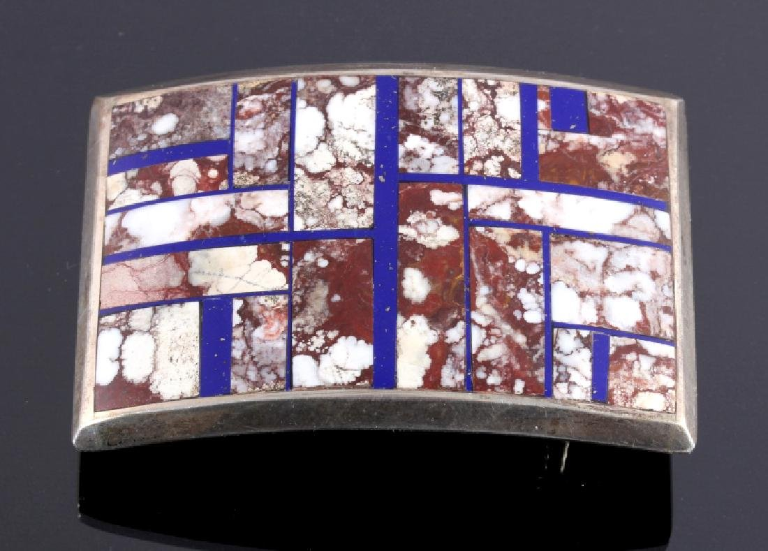 Navajo Inlaid Mosiac Sterling Belt Buckle Signed
