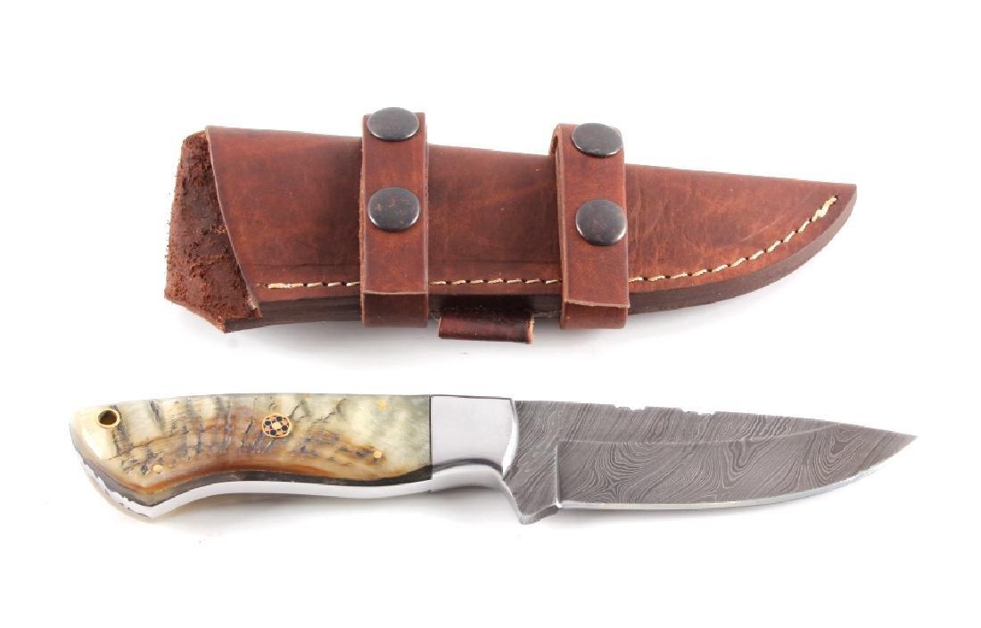 CFK Damascus Ram Horn Knife w/ Scabbard