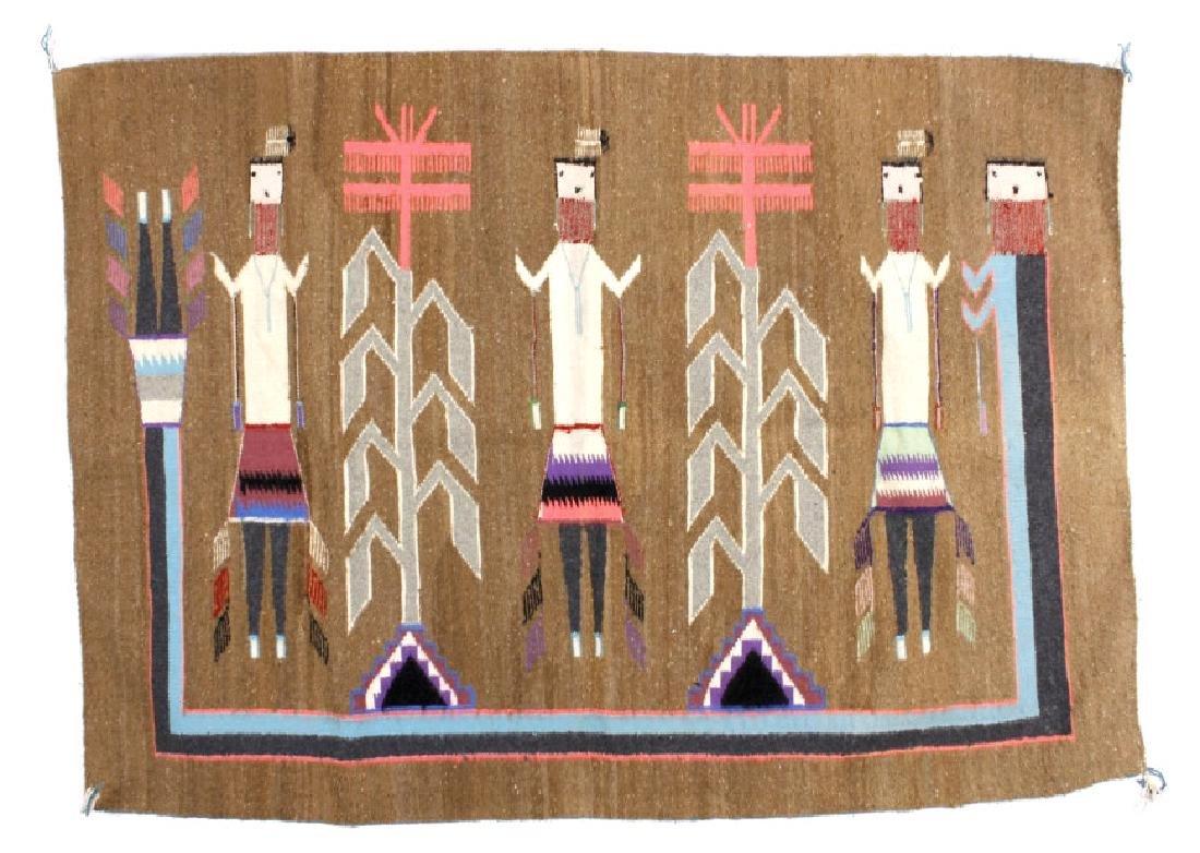 Navajo Rainbow Yei Pattern Wool Rug