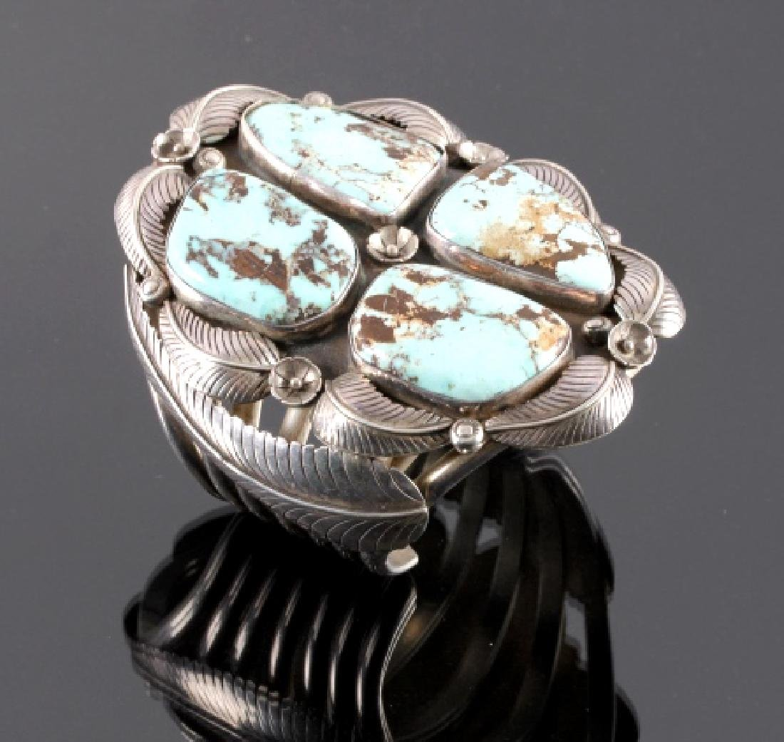 Excellent Navajo Sterling Silver Turquoise Cuff
