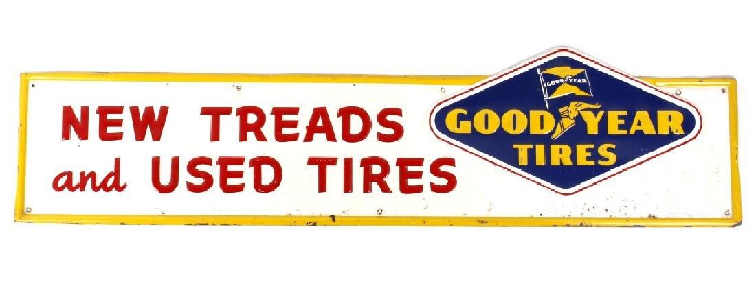 Goodyear Tires Embossed Steel Sign c. 1957