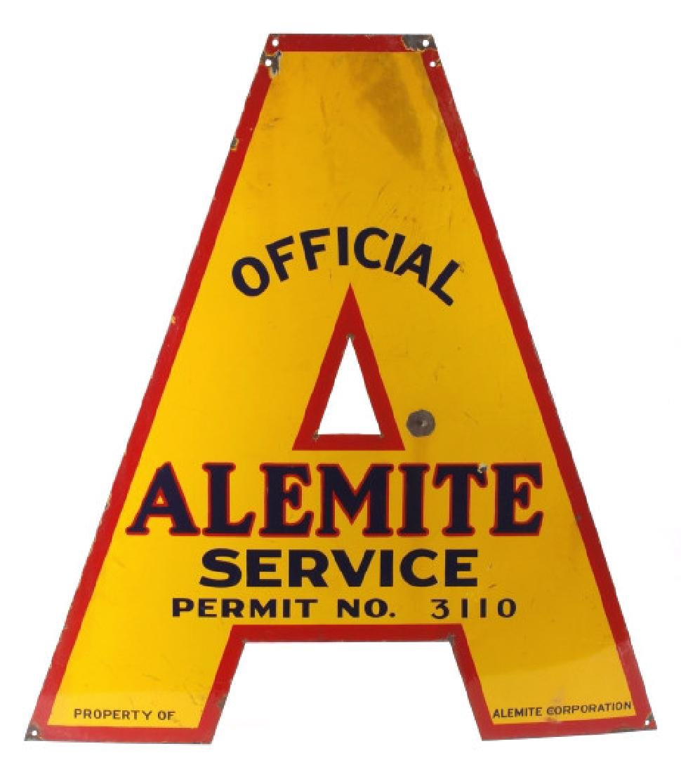 Official Alemite Die-Cut Service Advertising Sign