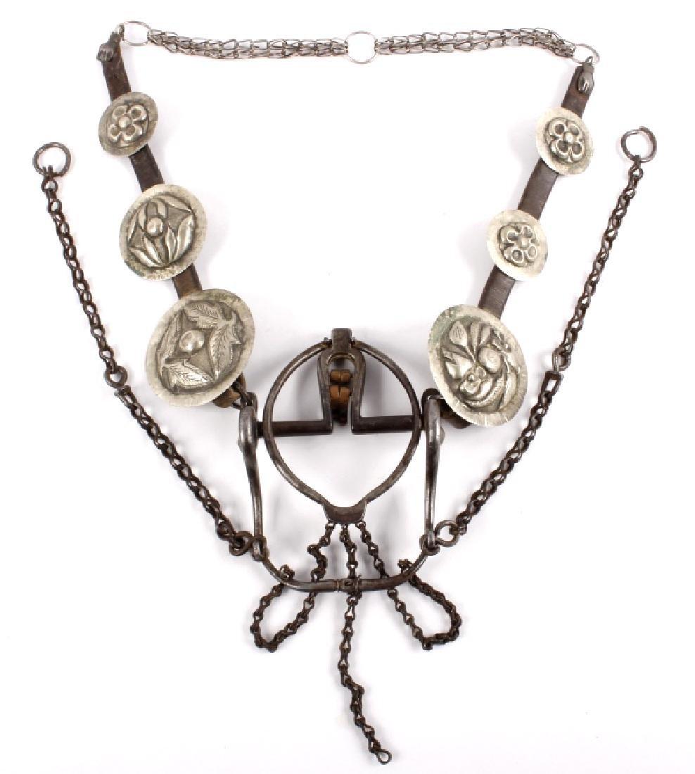 Ornate Mexican Silver Concho Headstall & Bit