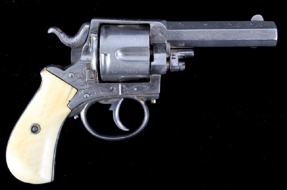 Engraved Belgium F&C .44 Bulldog Nickel Revolver
