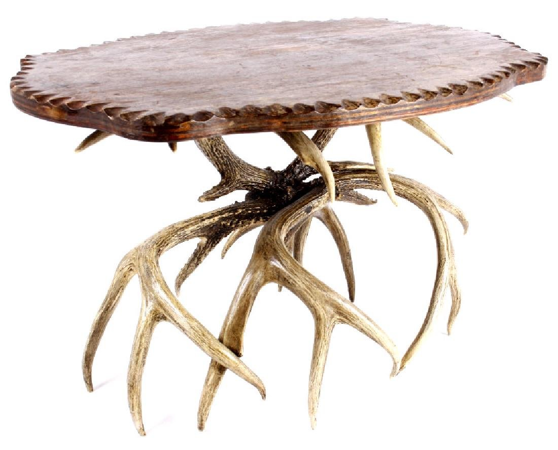 Antique Carved Wood & Whitetail Deer Antler Table