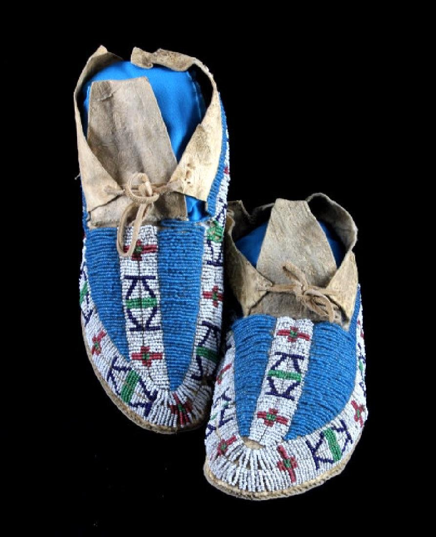 Lakota Sioux Fully Beaded Moccasins c. 1870-1890