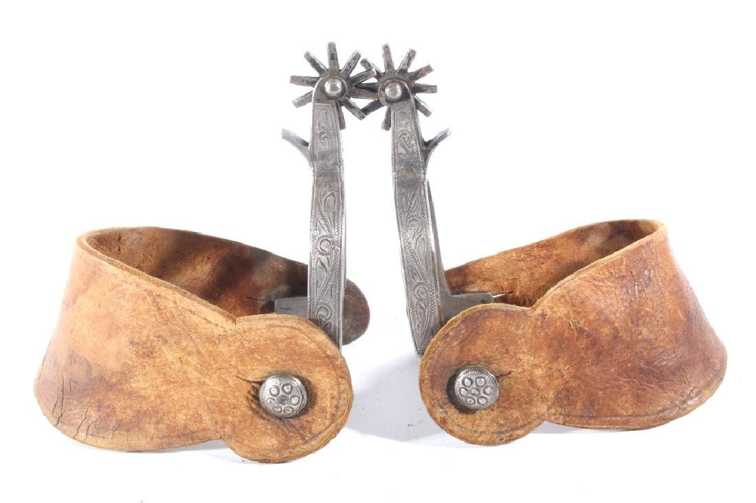 Engraved Silver Mounted Western Spurs
