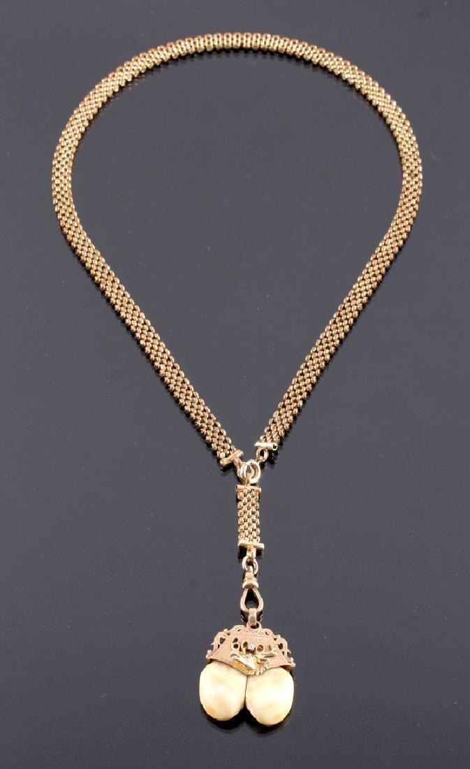 Antique 14K Gold Elks Masonic Pendant Necklace