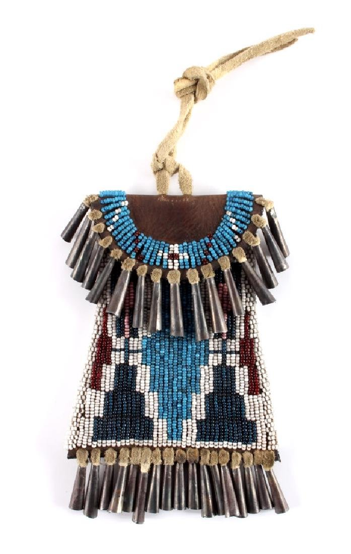 Kiowa Indian Strike-a-Lite Beaded Bag c. 1900-