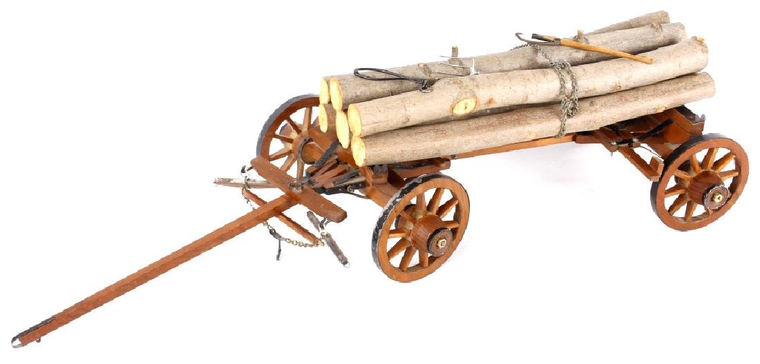 Folk Art Intricate Log Carrier Wagon RARE