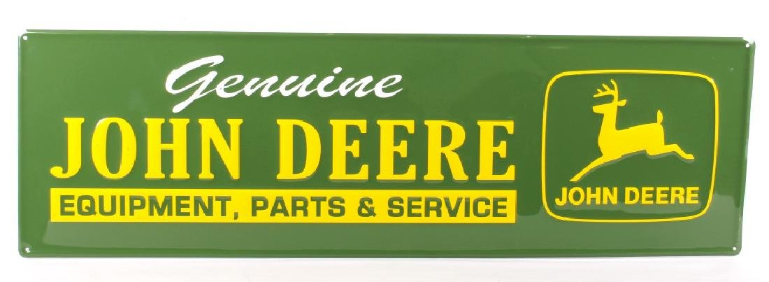 John Deere Embossed Stamped Steel Advertising Sign