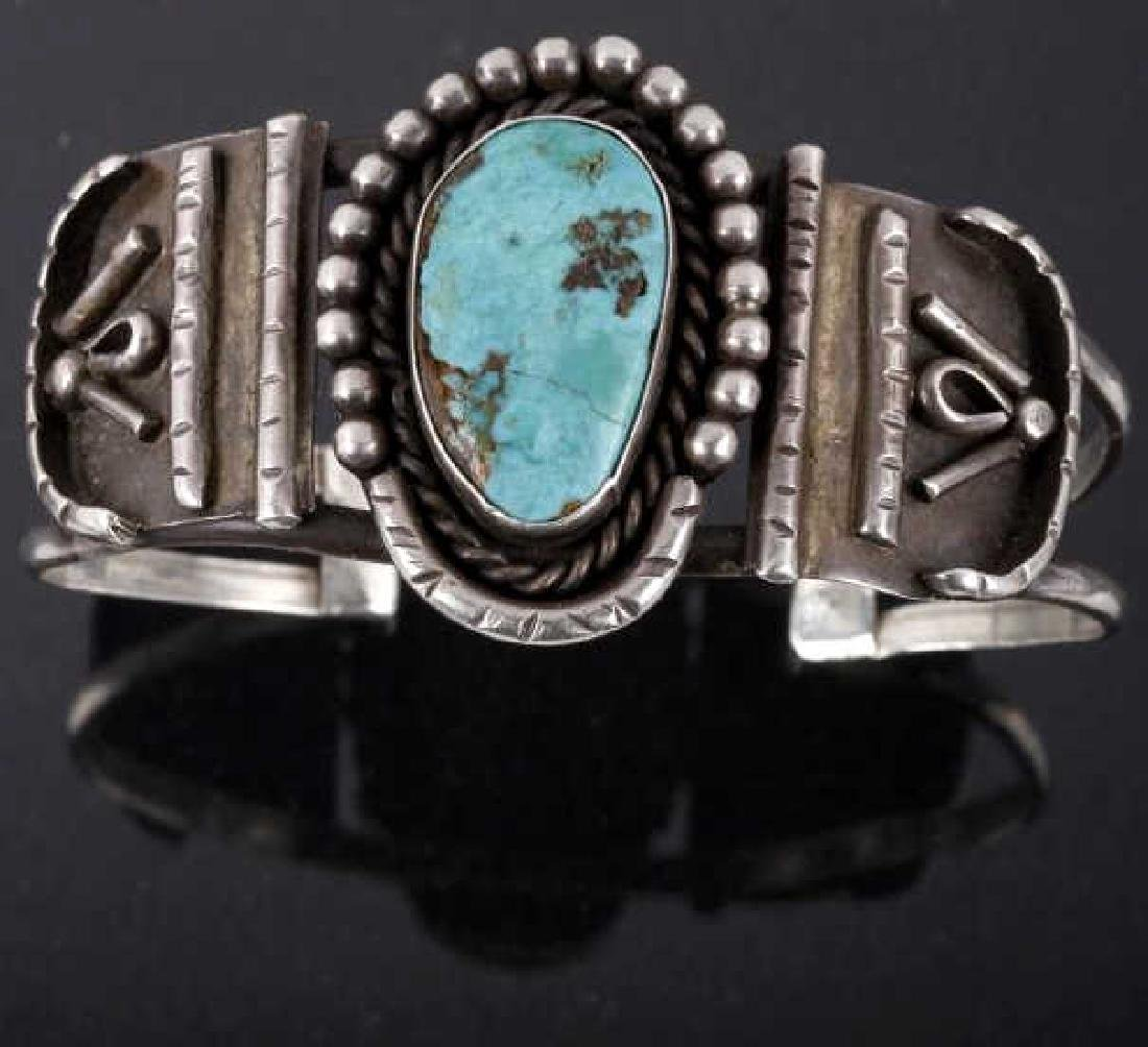 Navajo Old Pawn Silver & Turquoise Cuff