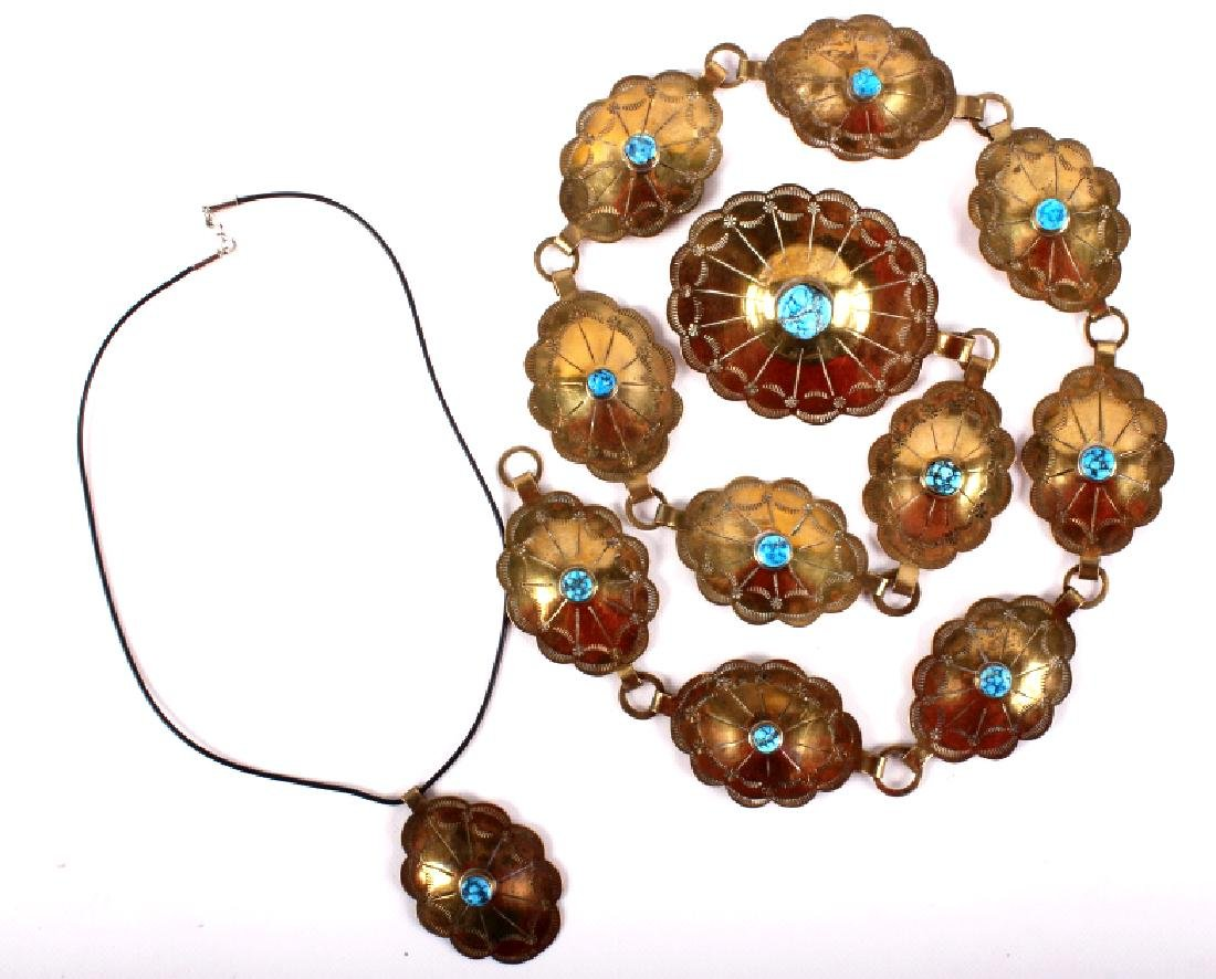Native American Brass And Turquoise Concho Belt