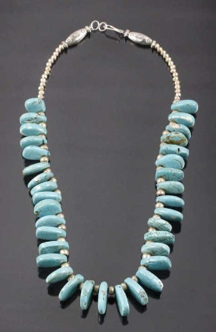 Navajo Kingman Spiderweb Turquoise Necklace