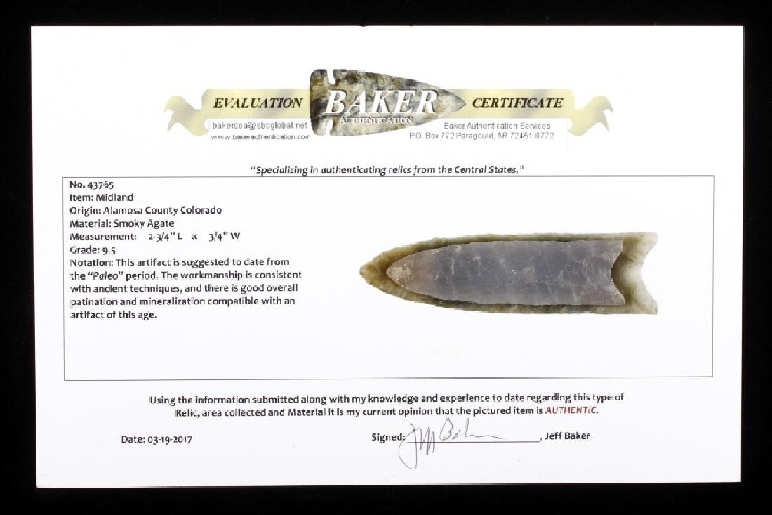 Smoky Agate Midland Projectile Point w/ COA