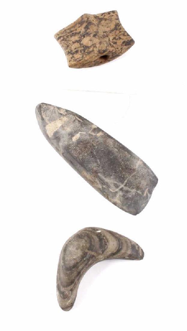 Archaic Period Bannerstones (2) & Celt