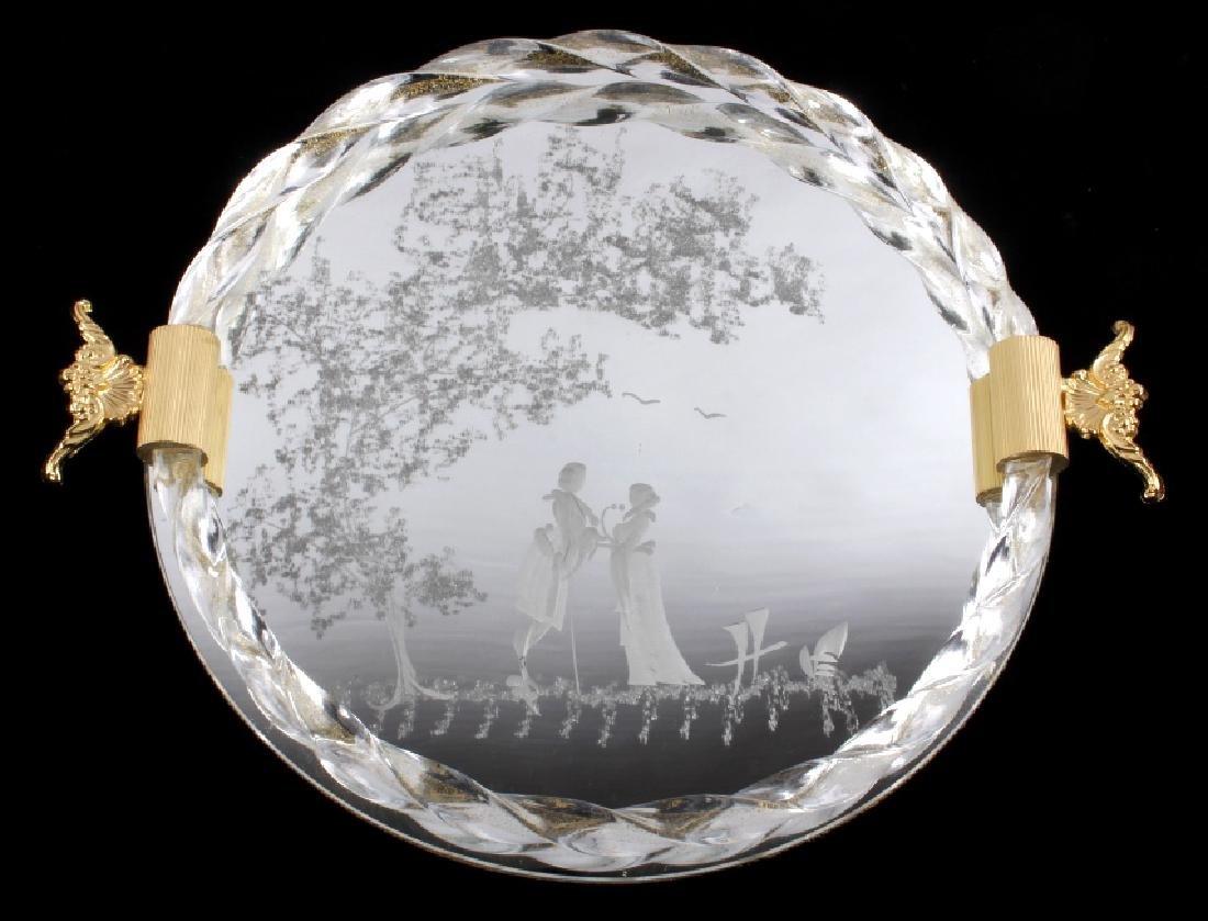 Ornate Etched Vecchia Murano Glass Tray
