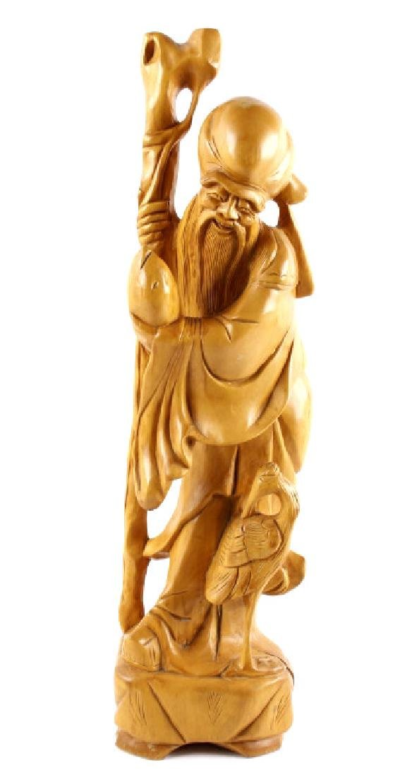 Folk Art Carving of an Oriental Wise Man & Crane