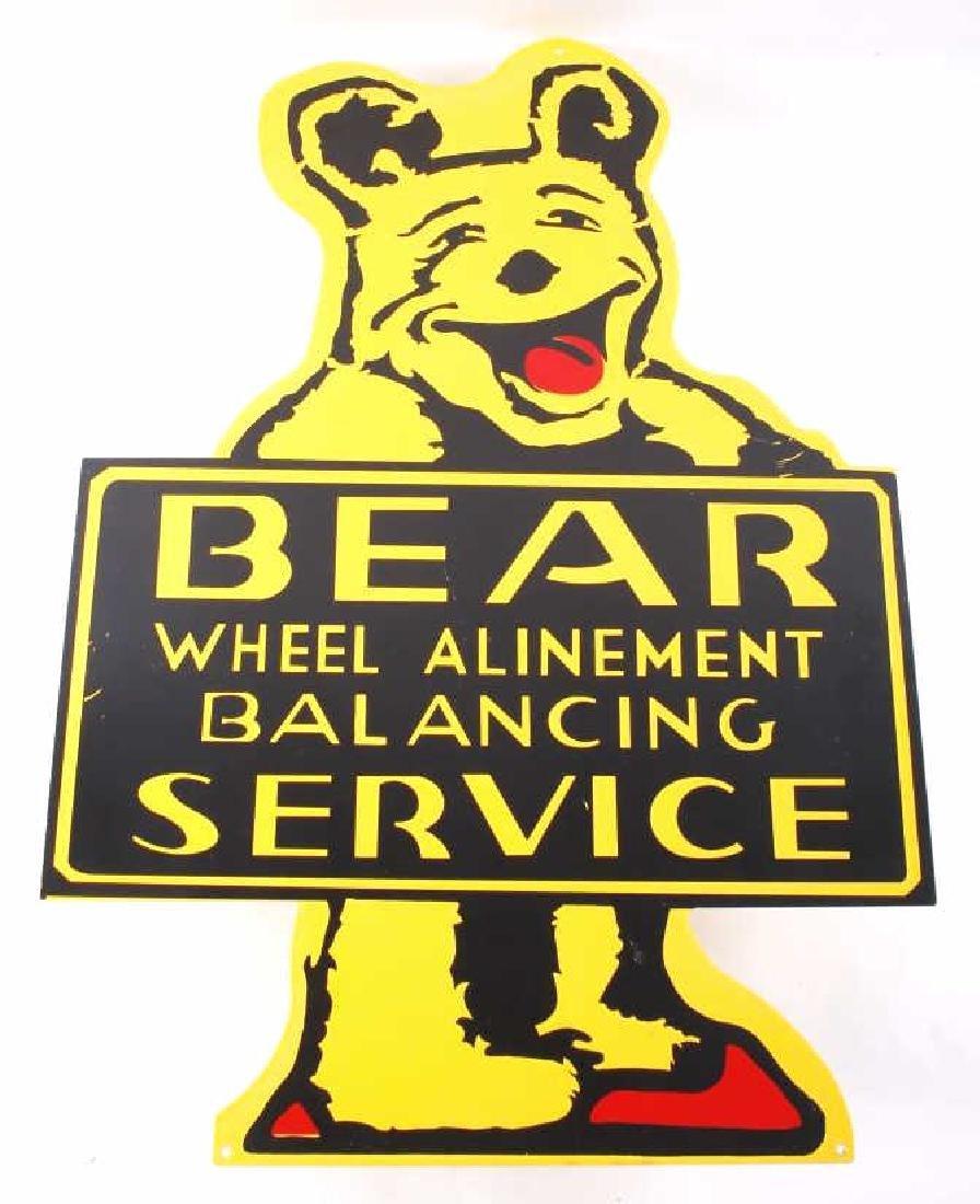 Bear Wheel Alinement Service Porcelain Enamel Sign