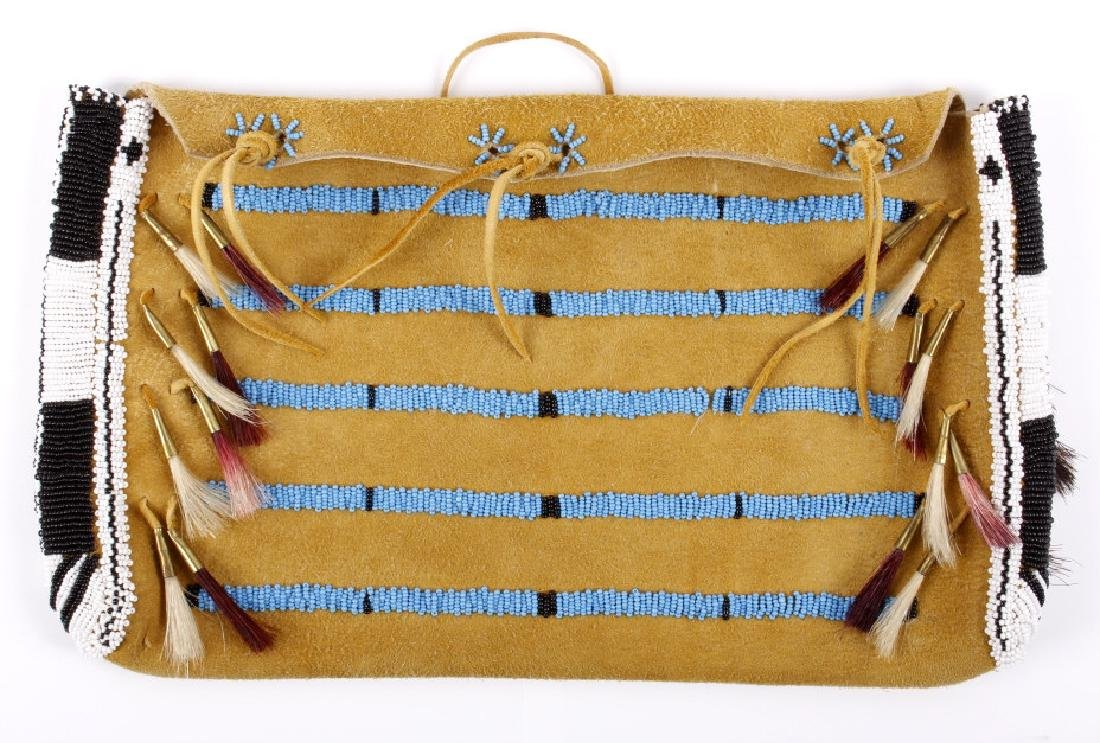 Sioux Tanned Hide Trade Seed Beaded Document Bag