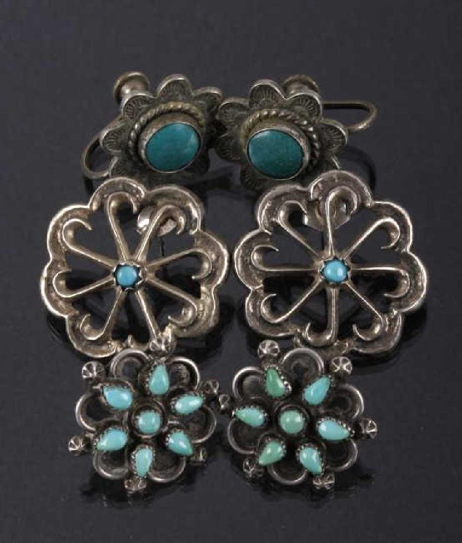 Three Pairs - Navajo Silver & Turquoise Earrings