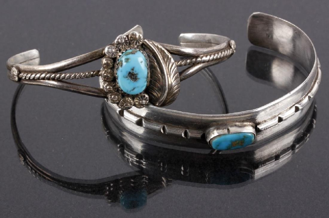 Pair of Navajo Silver & Turquoise Petit Bracelets