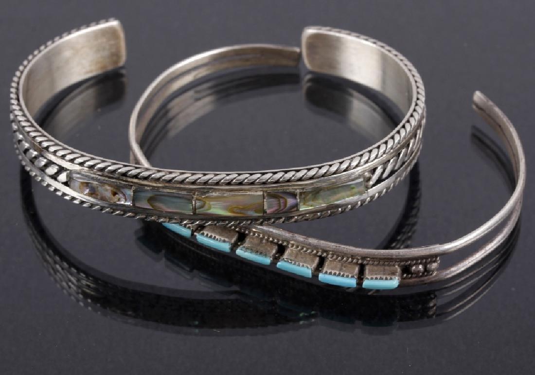 Two Navajo Petit Silver, Turquoise & MOP Bracelets