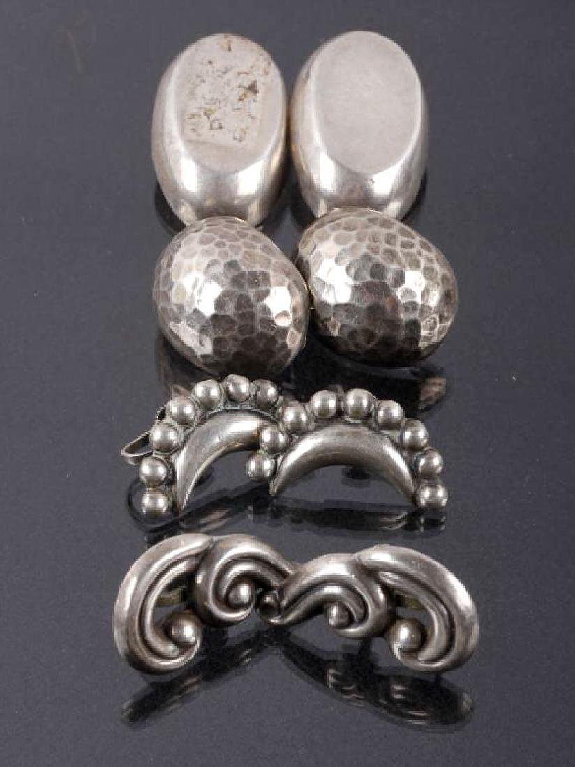 Collection of Four Cast Sterling Silver Earrings