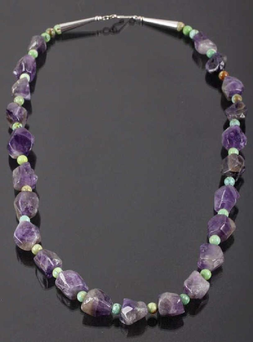 Polished Amethyst & Turquoise Bead Necklace