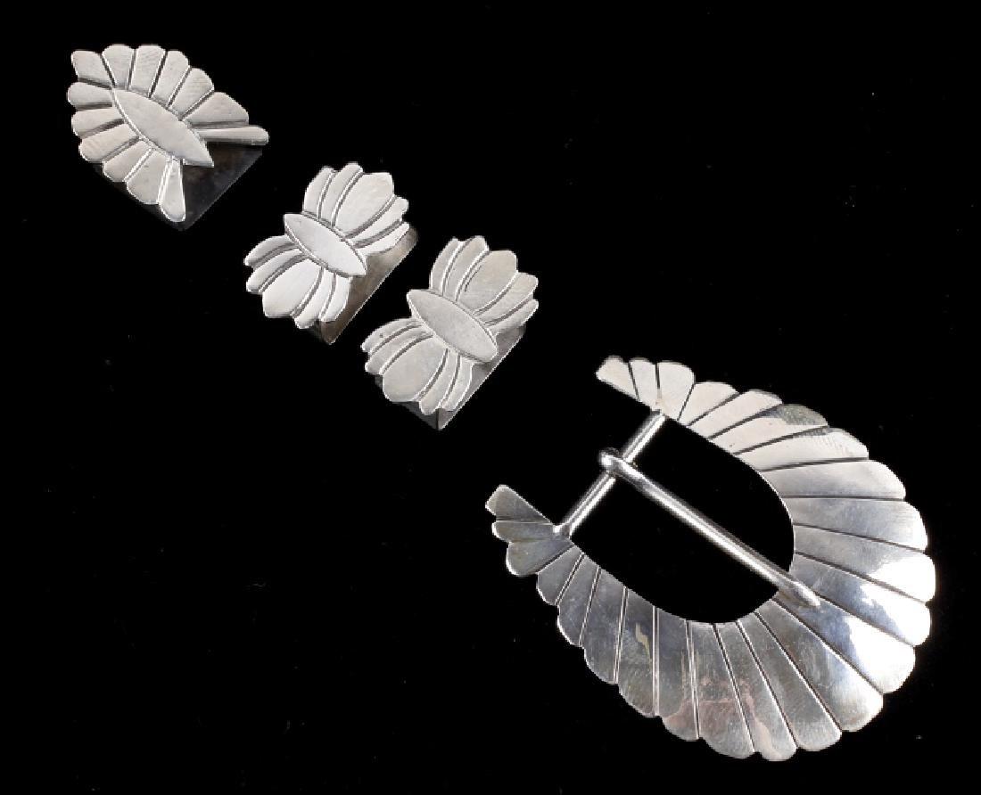 Navajo Sterling Silver Ranger Belt Buckle Set