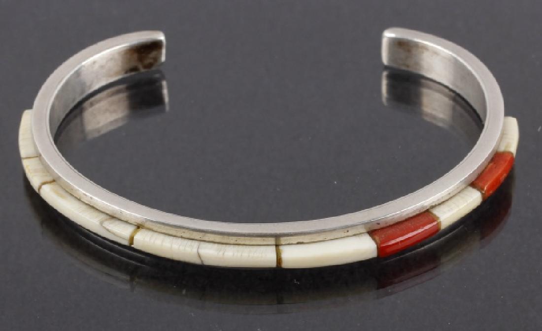 Signed Navajo Sterling Silver & Multi-Stone Cuff