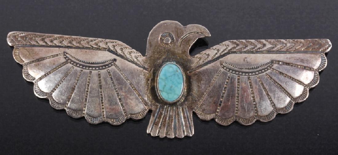 Navajo Sterling & Turquoise Thunderbird Brooch