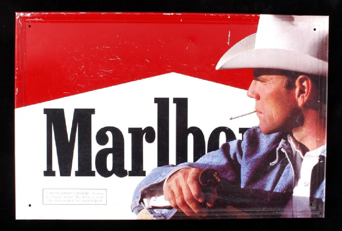 Vintage Marlboro Man Cigarette Advertising Sign