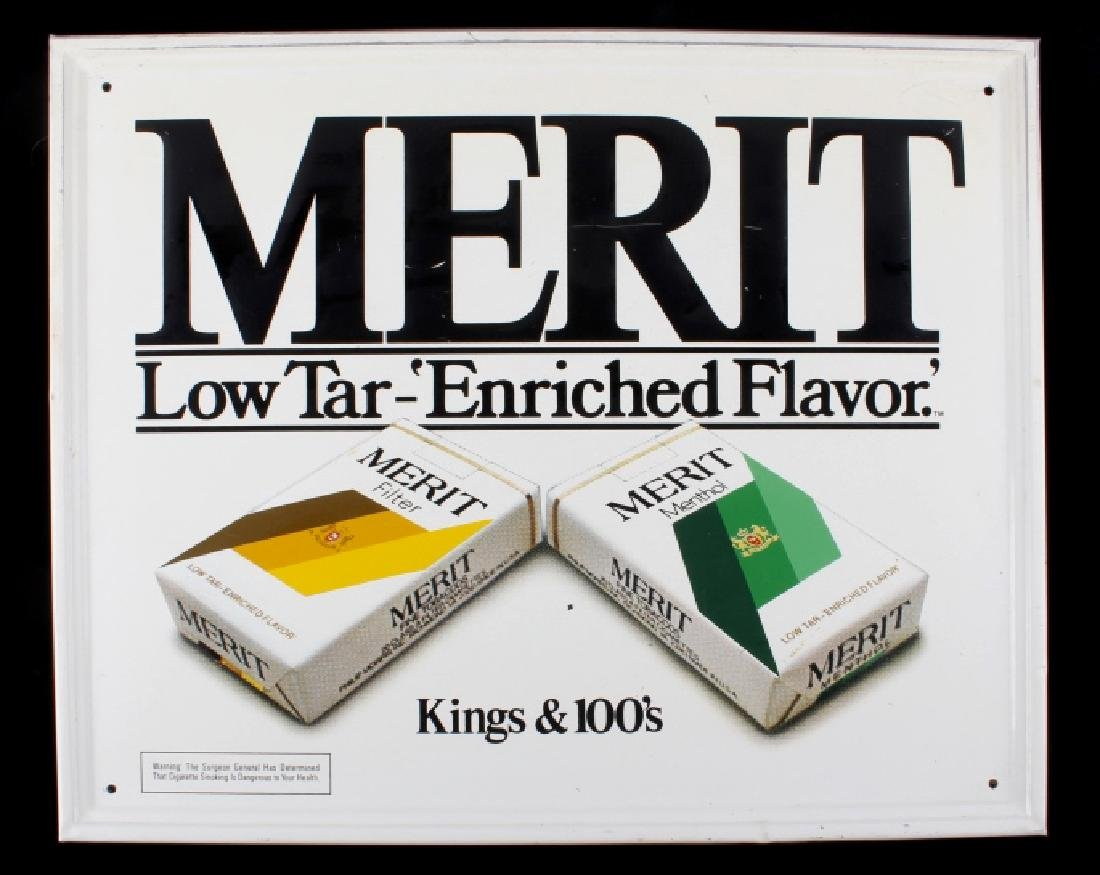 Merit Cigarettes Tin Advertising Sign