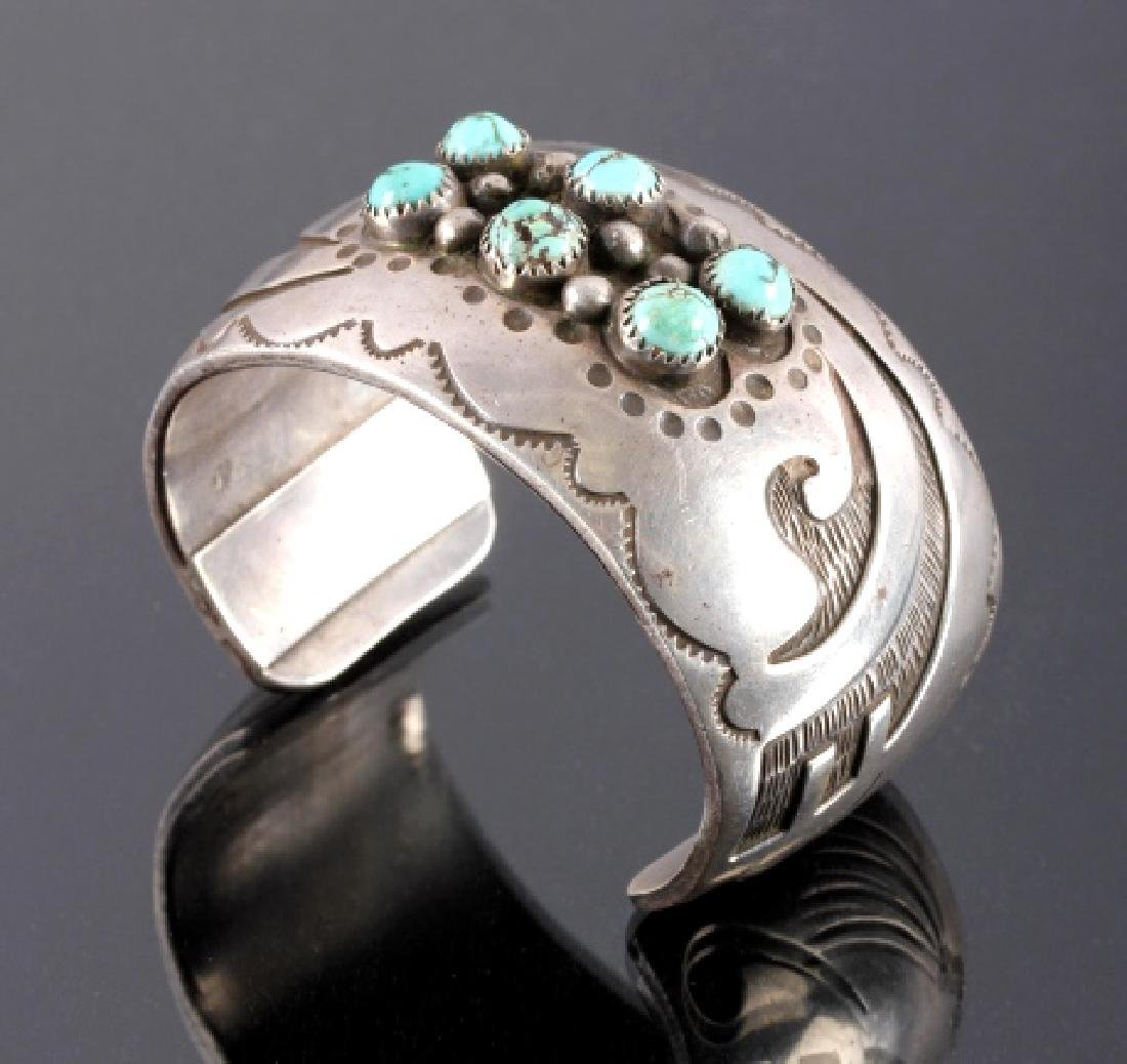 Signed Navajo Sterling Silver Turquoise Cuff - 2