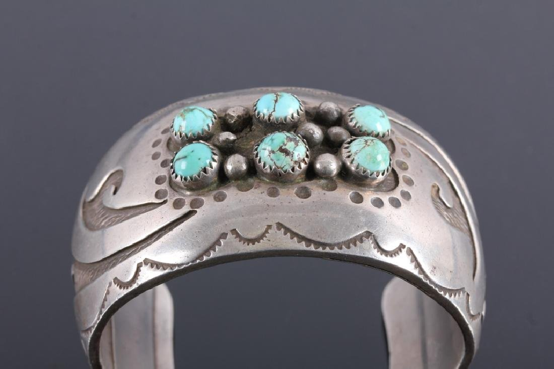 Signed Navajo Sterling Silver Turquoise Cuff - 3