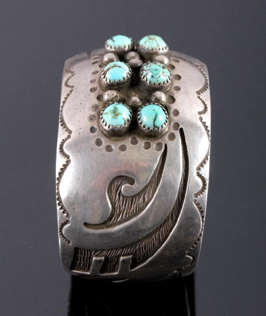 Signed Navajo Sterling Silver Turquoise Cuff - 5