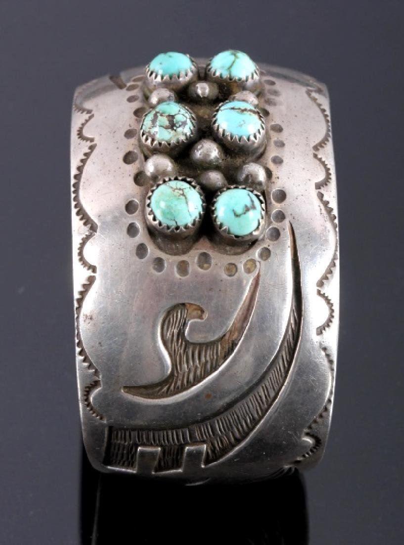 Signed Navajo Sterling Silver Turquoise Cuff - 6