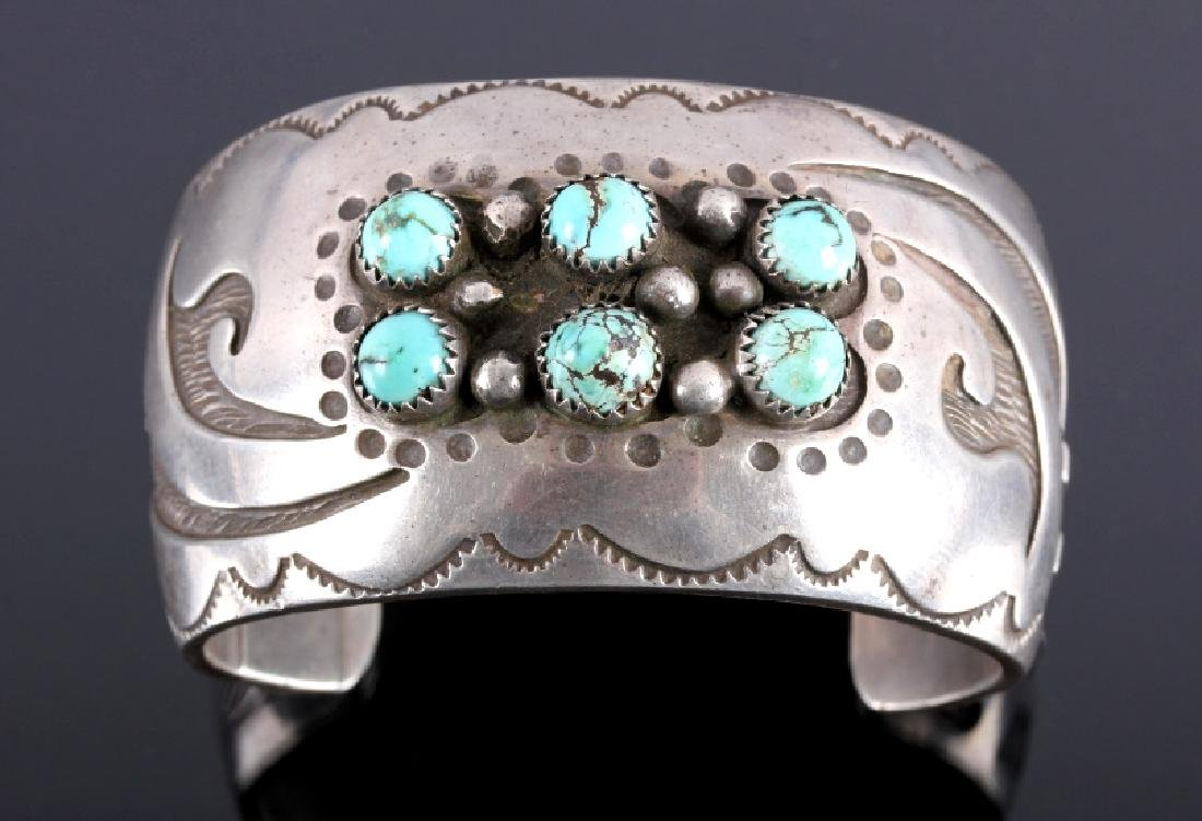 Signed Navajo Sterling Silver Turquoise Cuff - 8
