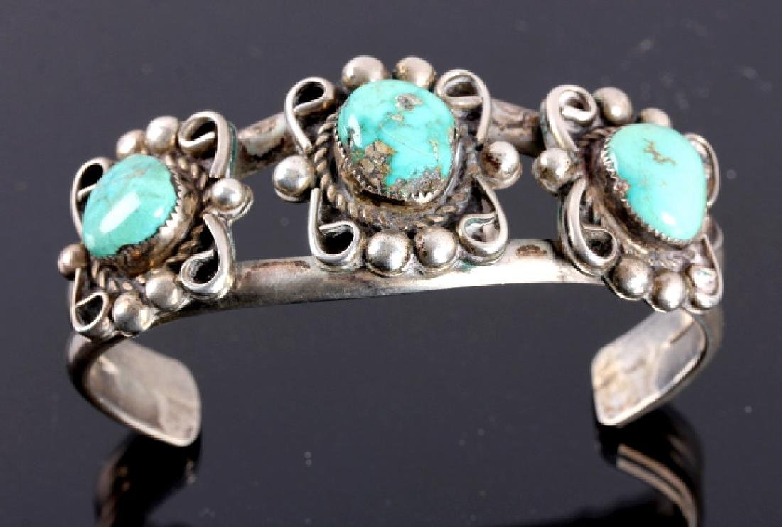 Navajo Sterling Silver and Turquoise Cuff - 2