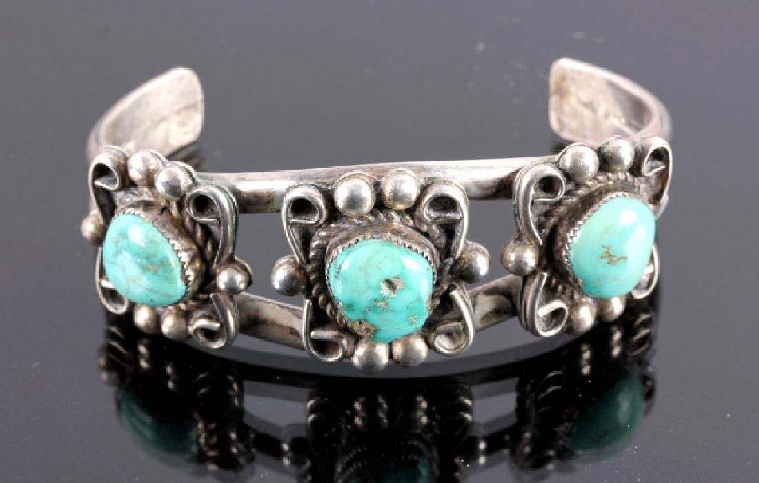 Navajo Sterling Silver and Turquoise Cuff - 3