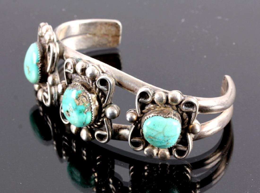 Navajo Sterling Silver and Turquoise Cuff - 8