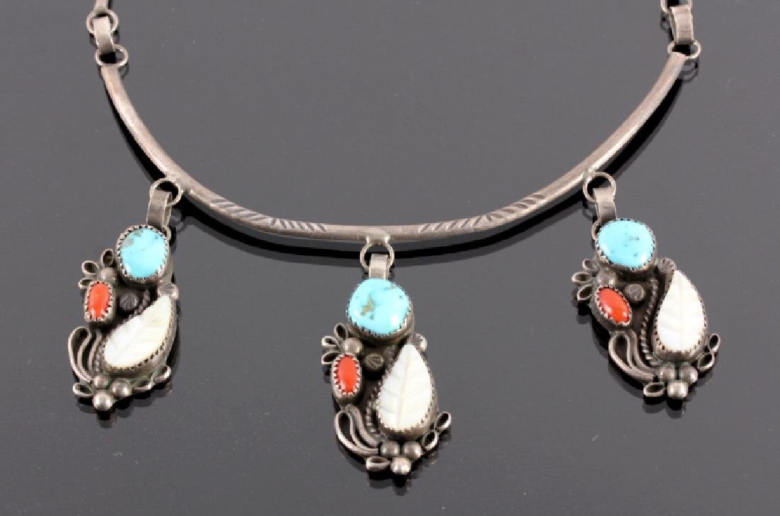 Navajo Sterling Silver Turquoise Coral Necklace - 2