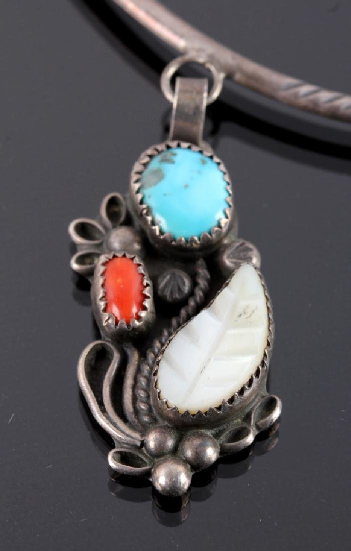 Navajo Sterling Silver Turquoise Coral Necklace - 3