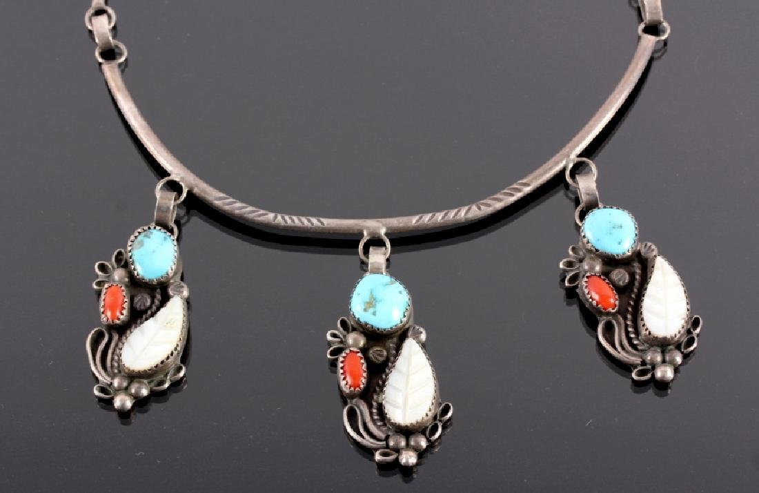 Navajo Sterling Silver Turquoise Coral Necklace - 9