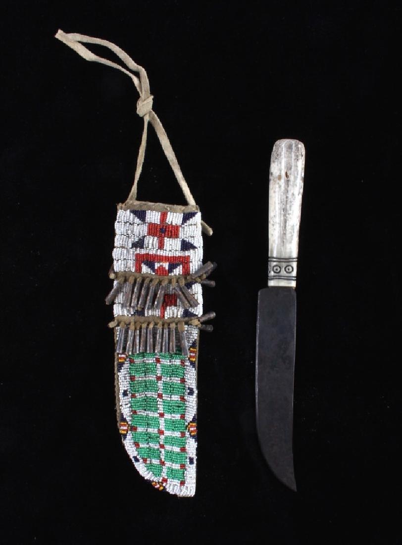 Sioux Fully Beaded Sheath & Trade Knife