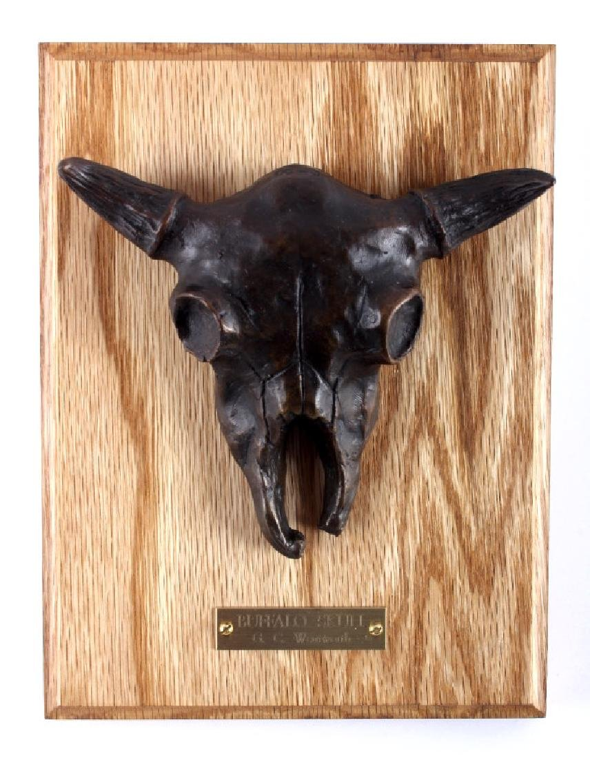 G.C. Wentworth Bronze Buffalo Skull Sculpture